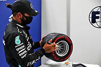 11th July 2020; Styria, Austria; FIA Formula One World Championship 2020, Grand Prix of Styria qualifying sessions;  44 Lewis Hamilton GBR, Mercedes-AMG Petronas Formula One Team take the pole trophy