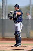 Milwaukee Brewers catcher Dustin Houle (16) during an Instructional League game against the Oakland Athletics on October 10, 2013 at Maryvale Baseball Park Training Complex in Phoenix, Arizona.  (Mike Janes/Four Seam Images)