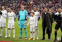 Pictured: (L-R) Michu, Angel Rangel, Gerhard Tremmel, Ashley Williams, Michael Laudrup. Sunday 24 February 2013<br /> Re: Capital One Cup football final, Swansea v Bradford at the Wembley Stadium in London.