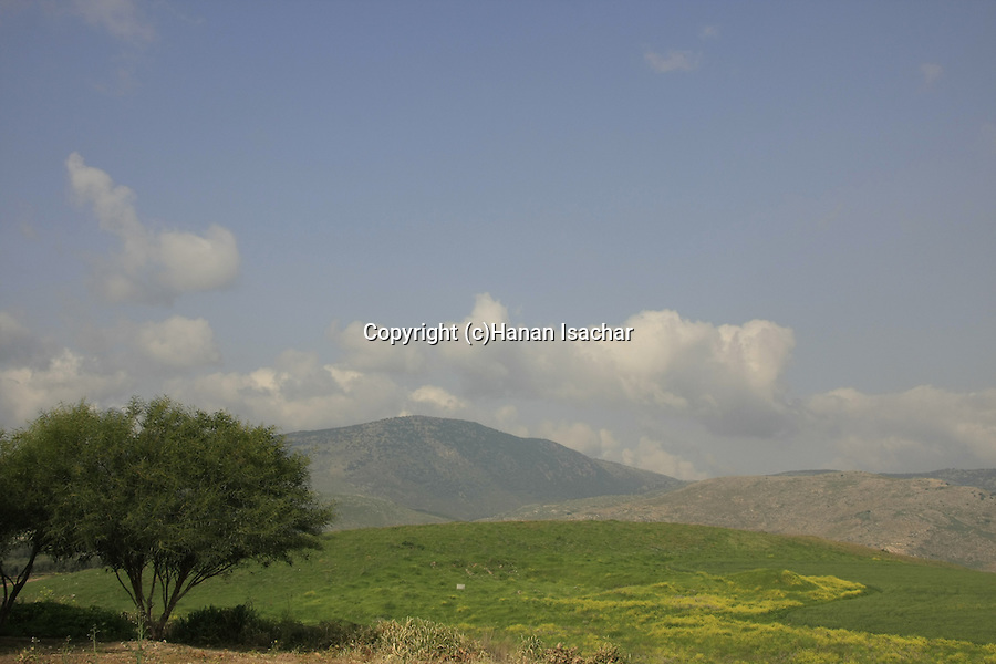 Israel, Upper Galilee. A view of the Hula valley from Tel Hazor, a World Heritage site