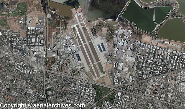aerial photo map Moffett Field, Mountain View, California