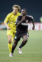 7 May 2005. DC United midfielder Freddy Adu (9) sprints to the goal at RFK Stadium in Washington, DC.