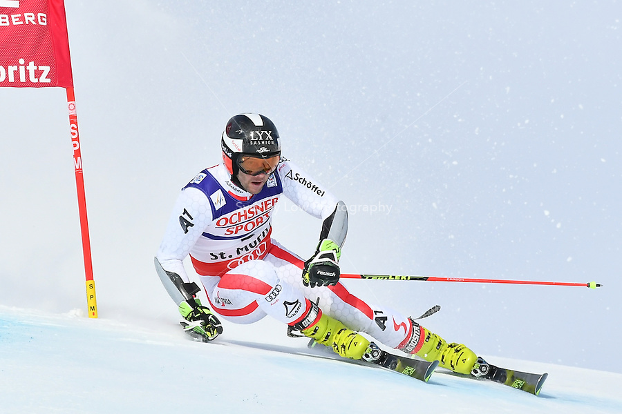 February 17, 2017: Philipp SCHOERGHOFER (AUT) competing in the men's giant slalom event at the FIS Alpine World Ski Championships at St Moritz, Switzerland. Photo Sydney Low