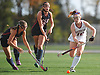 Liana McDonnell #16 of Garden City, right, moves the ball downfield during the Nassau County varsity field hockey Class B final against Cold Spring Harbor at Adelphi University on Saturday, Oct. 28, 2017. She scored the lone goal of the game to lead Garden City to a 1-0 win.