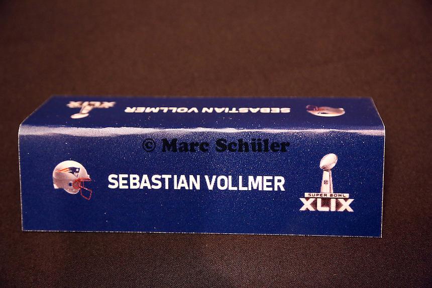 Platzschild von Sebastian Vollmer (Patriots) bei der Team-Pressekonferenz - Super Bowl XLIX New England Patriots Team-PK, Sheraton Arizona Grand Hotel