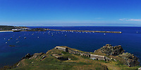 Pictured: General view of Braye Harbour Alderney<br />Re: It is believed that Premier League footballer Emiliano Sala was on a flight which disappeared between France and Cardiff.<br />The Argentine striker was one of two people on board the Piper Malibu, which disappeared off Alderney on Monday night.<br />Cardiff City FC, signed the 28-year-old from French club Nantes.<br />A search is under way.<br />A Cardiff Airport spokeswoman confirmed the aircraft was due to arrive from Nantes but said there were no further details.<br />HM Coastguard has sent two helicopters to help.