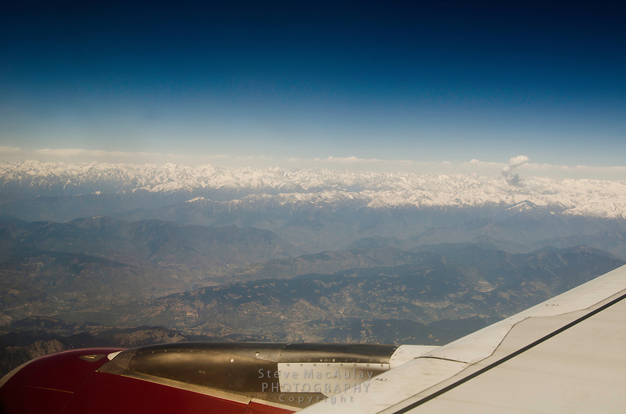 View of Himalaya Range from airplane.