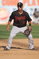 Tim Lopes (5) of the Bakersfield Blaze in the field during a game against the Rancho Cucamonga Quakes at LoanMart Field on June 1, 2015 in Rancho Cucamonga, California. Rancho Cucamonga defeated Bakersfield, 5-2. (Larry Goren/Four Seam Images)