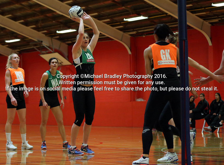 13.09.2016 Silver Ferns Te Paea Selby-Rickit in action during training ahead of their second netball match tomorrow night between the Silver Ferns and Jamaica in Palmerston North. Mandatory Photo Credit ©Michael Bradley.