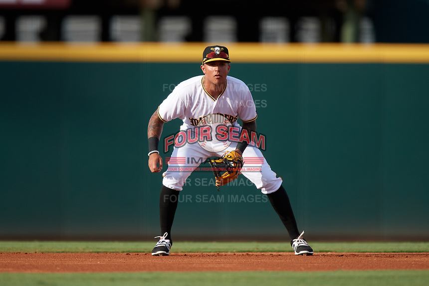 Bradenton Marauders shortstop Stephen Alemais (26) during a game against the Clearwater Threshers on July 24, 2017 at LECOM Park in Bradenton, Florida.  Bradenton defeated Clearwater 6-3  (Mike Janes/Four Seam Images)