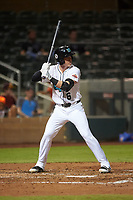 Salt River Rafters Brian Serven (6), of the Colorado Rockies organization, at bat during an Arizona Fall League game against the Mesa Solar Sox on September 19, 2019 at Salt River Fields at Talking Stick in Scottsdale, Arizona. Salt River defeated Mesa 4-1. (Zachary Lucy/Four Seam Images)