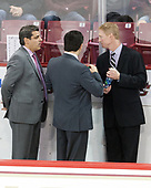 Marty McInnis (BC - Assistant Coach), Mike Ayers (BC - Assistant Coach), Greg Brown (BC - Associate Head Coach) - The Boston College Eagles defeated the visiting Providence College Friars 3-1 on Friday, October 28, 2016, at Kelley Rink in Conte Forum in Chestnut Hill, Massachusetts.The Boston College Eagles defeated the visiting Providence College Friars 3-1 on Friday, October 28, 2016, at Kelley Rink in Conte Forum in Chestnut Hill, Massachusetts.
