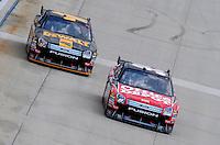 Jun 1, 2008; Dover, DE, USA; NASCAR Sprint Cup Series driver Carl Edwards (99) leads Matt Kenseth (17) during the Best Buy 400 at the Dover International Speedway. Mandatory Credit: Mark J. Rebilas-US PRESSWIRE