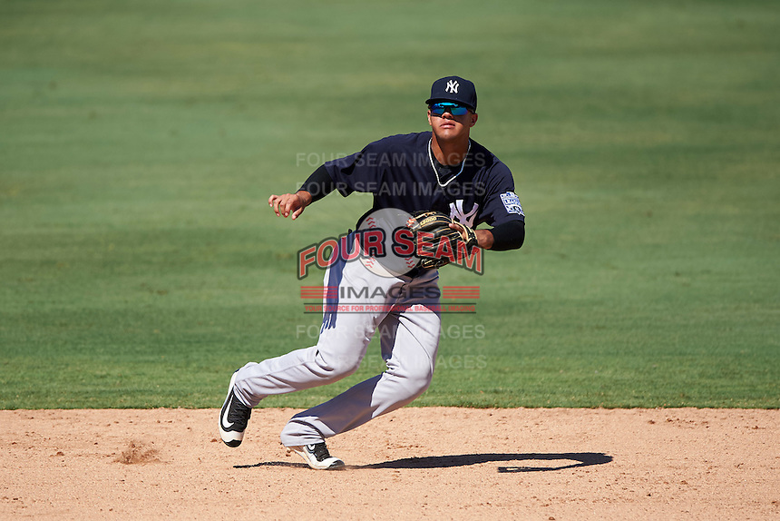 New York Yankees shortstop Wilkerman Garcia (15) during an Instructional League game against the Philadelphia Phillies on September 27, 2016 at Bright House Field in Clearwater, Florida.  (Mike Janes/Four Seam Images)
