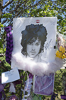 """Artistic Bradford """"Rest in Peace"""" portrait of Prince hung on memorial fence. Paisley Park Studios Chanhassen Minnesota MN USA"""