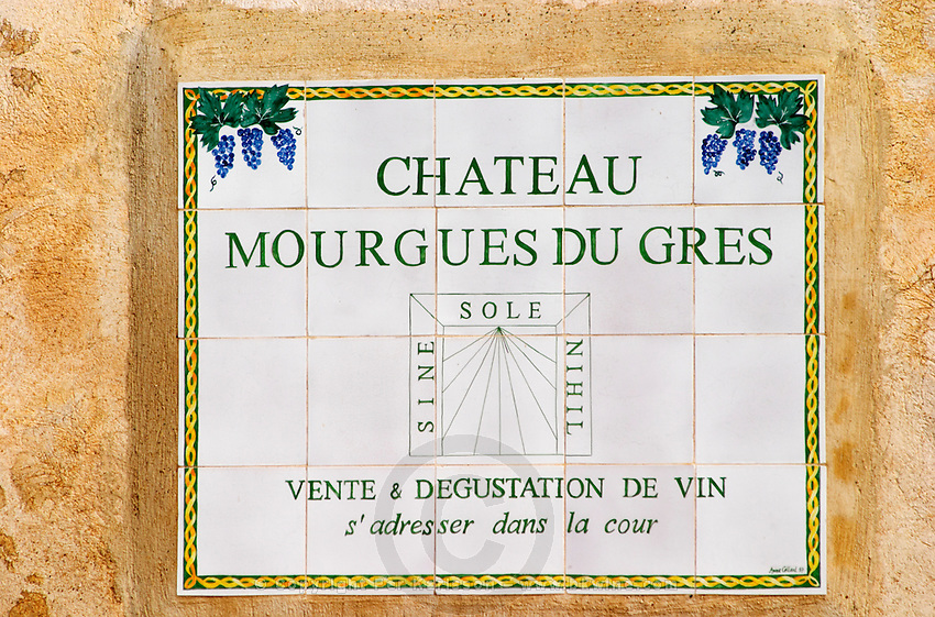 A sign at the entrance. Chateau Mourgues du Gres Grès, Costieres de Nimes, Bouches du Rhone, Provence, France, Europe