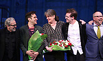 Craig Lucas, Adam Chanler-Berat, Pam MacKinnon, Sam Pinkleton and Nathan Tysen during the Broadway Opening Night Performance Curtain Call for 'Amelie' at the Walter Kerr Theatre on April 3, 2017 in New York City