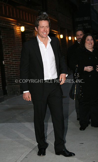 WWW.ACEPIXS.COM . . . . .  ....December 14 2009, New York City....Actor Hugh Grant made an appearance at 'The Late Show with David Letterman' on December 14 2009 in New York City....Please byline: NANCY RIVERA- ACEPIXS.COM.... *** ***..Ace Pictures, Inc:  ..Tel: 646 769 0430..e-mail: info@acepixs.com..web: http://www.acepixs.com