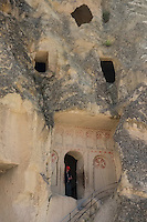 In Byzantine times, this church was carved in the cliffs as found at the Goreme Open Air Museum in Cappadocia valley.