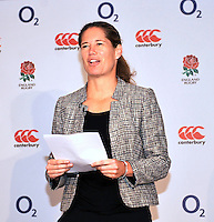 Drybrook, England. Sophie Goldschmidt, the RFU's Chief Commercial Officer  during the RFU and Canterbury   Official launch of the new season's England kit at Drybrook RFC Mannings Ground, Gloucestershire, England on September 19, 2012