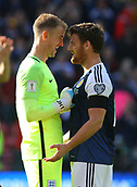 June 10th 2017, Hampden park, Glasgow, Scotland; World Cup 2018 Qualifying football, Scotland versus England; Joe Hart and Chris Martin see the funny side
