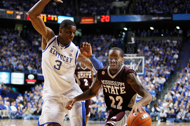 Terrence Jones guards Brian Bryant during the first half of the UK men's basketball game vs. Mississippi State at Rupp Arena on Tuesday, Feb. 15, 2011.  Photo by Britney McIntosh | Staff