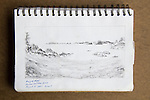 Alaska, Owens Island, Prince William Sound, charcoal on paper, Journal Art 2007,