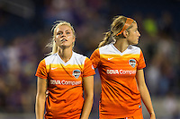 Orlando, FL - Thursday June 23, 2016: Rachel Daly, Janine Beckie after a regular season National Women's Soccer League (NWSL) match between the Orlando Pride and the Houston Dash at Camping World Stadium.