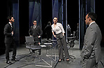 DRY POWDER by Burgess ; <br /> Tom Riley as Seth ; <br /> Aidan McArdle as Rick ; <br /> Hayley Attwell as Jenny ; <br /> Joseph Balderrama as Jeff ; <br /> Directed by Ledwich ; <br /> Designed by D Edwards ; <br /> Lighting by Elliot Griggs ; <br /> at Hampstead Theatre, London, UK ; <br /> 1 February 2018 ; <br /> Credit: Marilyn Kingwill / Performing Arts Images ; <br /> www.performingartsimages.com<br /> <br /> ***Educational Licence Use Only under Performing Arts Images Subscription Service.*** None of these images can be used commercially without prior written permission. ***Contact office@performingartsimages.com for details***