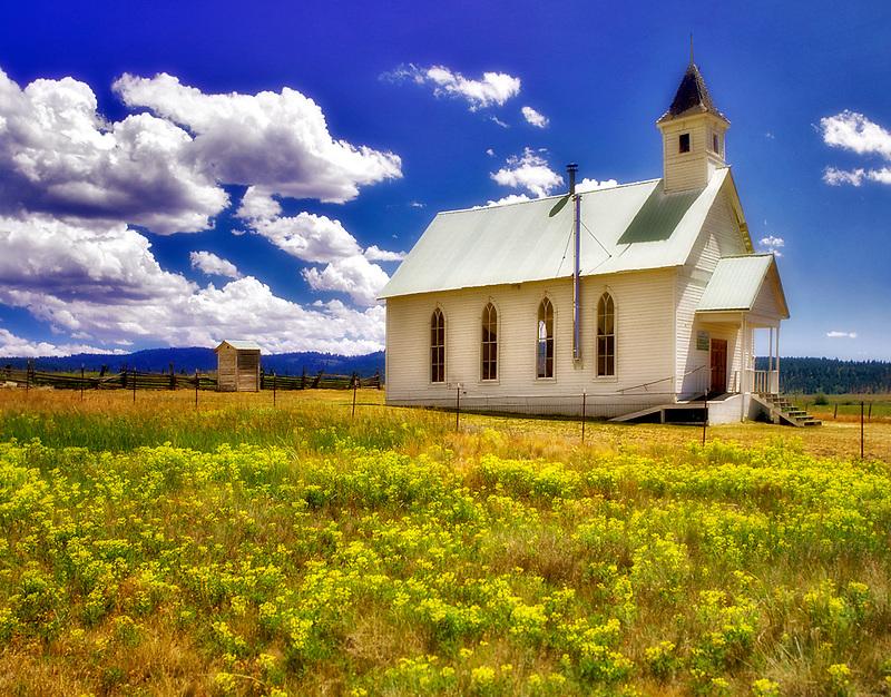 Fox Community Church with flowers. Fox, Oregon.