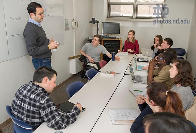 Feb. 25, 2015; Sebastian Rosato classroom shoot for the College of Arts & Letters. (Photo by Barbara Johnston/University Photographer)