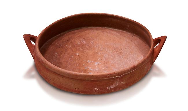 Hittite terra cotta bowl. Hittite Old Period, 1650 - 1450 BC.  Hattusa Boğazkale. Çorum Archaeological Museum, Corum, Turkey. Against a white bacground.