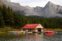 Lake Maligne boat house. Jasper National Park