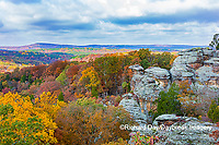 63895-16310 Camel Rock in fall color Garden of the Gods Recreation Area Shawnee National Forest IL