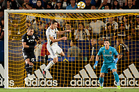 CARSON, CA - SEPTEMBER 15: Daniel Steres #5 of the Los Angeles Galaxy and Erik Hurtado #19 of Sporting Kansas City battle for a loose ball during a game between Sporting Kansas City and Los Angeles Galaxy at Dignity Health Sports Complex on September 15, 2019 in Carson, California.