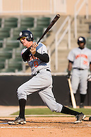 Stephen King (8) of the Hagerstown Suns follows through on his swing versus the Kannapolis Intimidators at Fieldcrest Cannon Stadium in Kannapolis, NC, Sunday May 25, 2008.