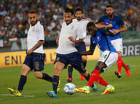 Blaise Matuidi shoots and scores during the  friendly  soccer match,between Italy  and  France   at  the San  Nicola   stadium in Bari Italy , September 01, 2016<br /> <br /> amichevole di calcio tra le nazionali di Italia e Francia
