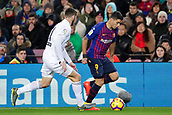 2nd February 2019, Camp Nou, Barcelona, Spain; La Liga football, Barcelona versus Valencia; Luis Suarez of FC Barcelona challenges for the ball against Piccini of Valencia CF