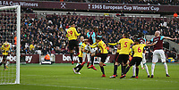 West Ham United's Javier Hernandez scores in the first half but the goal was disallowed for offside<br /> <br /> Photographer Rob Newell/CameraSport<br /> <br /> The Premier League - West Ham United v Watford - Saturday 10th February 2018 - London Stadium - London<br /> <br /> World Copyright &copy; 2018 CameraSport. All rights reserved. 43 Linden Ave. Countesthorpe. Leicester. England. LE8 5PG - Tel: +44 (0) 116 277 4147 - admin@camerasport.com - www.camerasport.com
