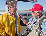 "Unlimited Champion Robert ""Hoot"" Gibson is interviewed by Dan McGee at the Air Races at the Reno-Stead Airfield on Sunday, Sept. 20, 2015."