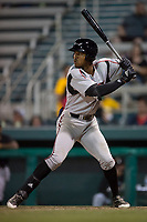 Lake Elsinore Storm left fielder Buddy Reed (23) at bat during a California League game against the Modesto Nuts at John Thurman Field on May 11, 2018 in Modesto, California. Modesto defeated Lake Elsinore 3-1. (Zachary Lucy/Four Seam Images)