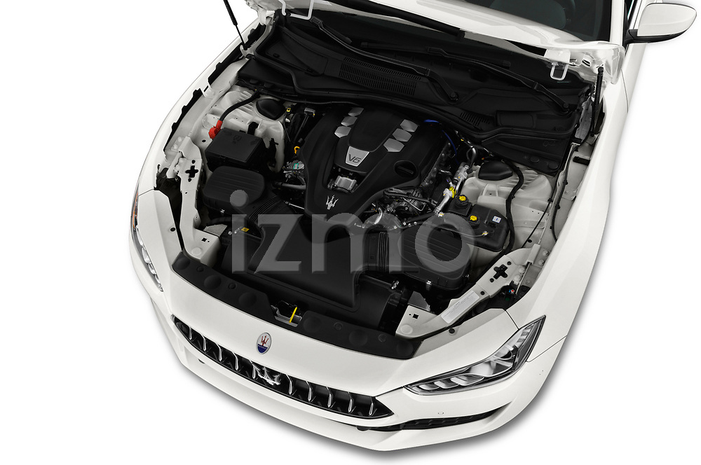 Car stock 2018 Maserati Ghibli Base 4 Door Sedan engine high angle detail view