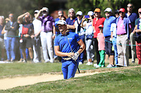 Haydn Porteous (RSA) in a fairway bunker for his 2nd shot on the 5th hole during Sunday's Final Round 4 of the 2018 Omega European Masters, held at the Golf Club Crans-Sur-Sierre, Crans Montana, Switzerland. 9th September 2018.<br /> Picture: Eoin Clarke | Golffile<br /> <br /> <br /> All photos usage must carry mandatory copyright credit (© Golffile | Eoin Clarke)