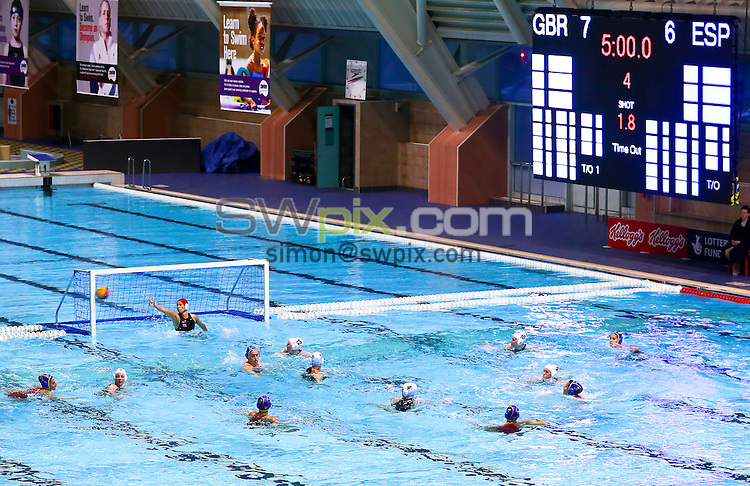 Picture by Alex Whitehead/SWpix.com - 22/04/2014 - Water Polo - FINA Women's Water Polo World League - Great Britain v Spain - Manchester Aquatics Centre, England - Spain score.