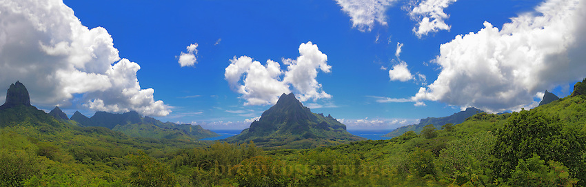 Mt Rotui on Moorea from Point Belvedere.  Cooks Bay on the right and Opunohu Bay on the left.