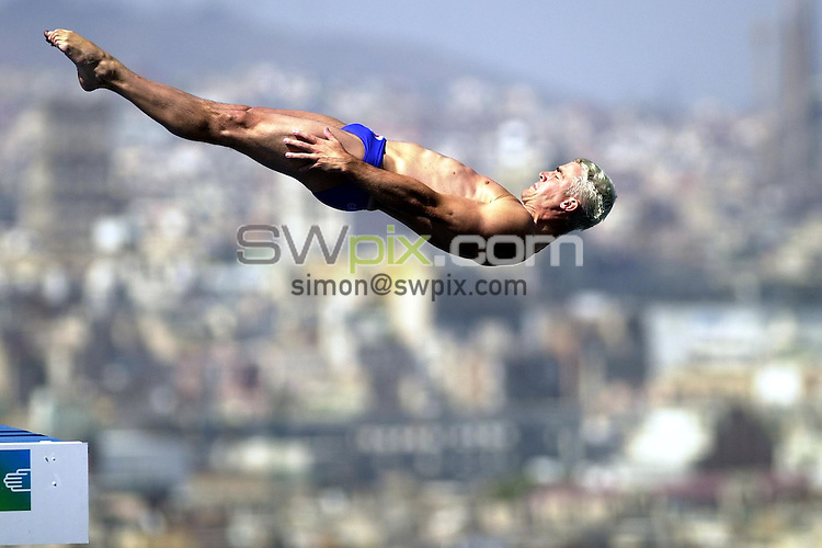 Pix: Matthew Lewis/SWpix.com. Diving. 10th Fina World Championships 2003, Barcelona. 19/07/2003...COPYRIGHT PICTURE>>SIMON WILKINSON>>01943 436649>>..Great Britain's Leon Taylor competes in the Mens 10m Platform Semi-Final.