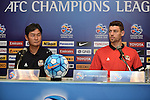 The coach and one of the players of FC Seoul (KOR) speak at the press conference on 22 February 2016, one day before the 2016 AFC Champions League Group F match between Buriram United (THA) vs FC Seoul (KOR) at the New I-Mobile Stadium, Buriram, Thailand.