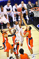 Kemba Walker of the Huskies goes up strong to the basket against the Bison's defense. Connecticut defeated Bucknell 81-52 during the NCAA tournament at the Verizon Center in Washington, D.C. on Thursday, March 17, 2011. Alan P. Santos/DC Sports Box