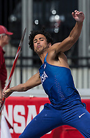 NWA Democrat-Gazette/BEN GOFF @NWABENGOFF<br /> Athletes compete in the men's decathlon javelin Friday, April 12, 2019, at the John McDonnell Invitational at John McDonnell field in Fayetteville.