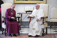 Pope Francis meets His Grace Justin Welby, Archbishop of Canterbury and Primate of the Anglican Communion,at the Vatican  14 June 2013. <br /> <br /> Archbishop of Canterbury Justin Welby
